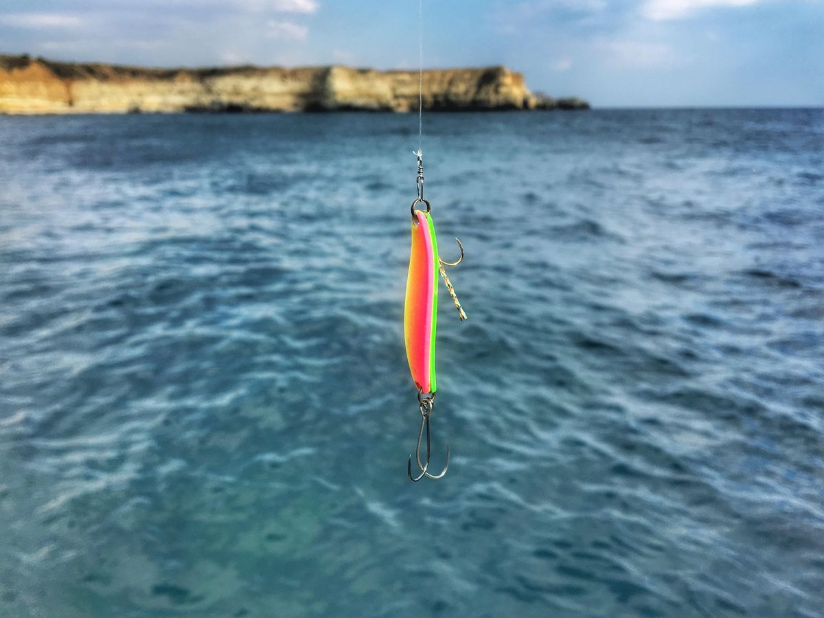 Rock fishing on double spoon with additional hooks